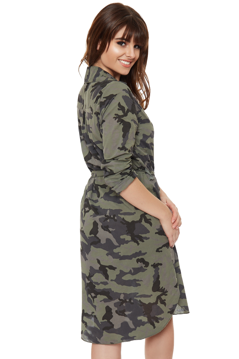 Womens camouflage shirt dress long sleeve button collar Women s long sleeve shirt dress