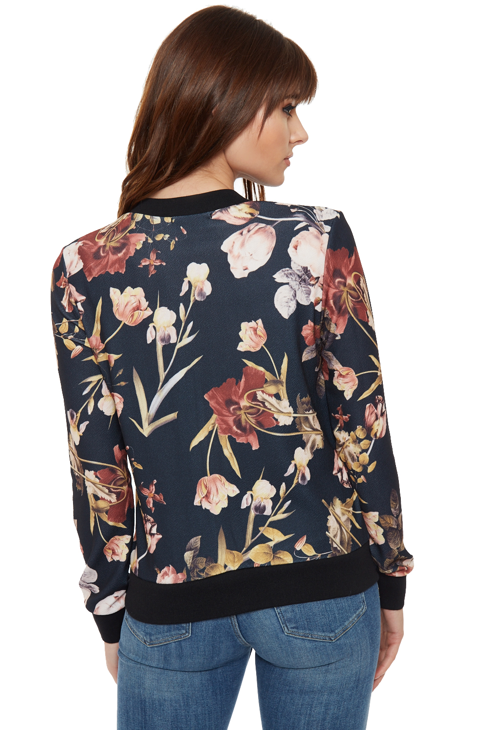 Womens Floral Zip Bomber Jacket Crepe Long Sleeve Zip Crew ...