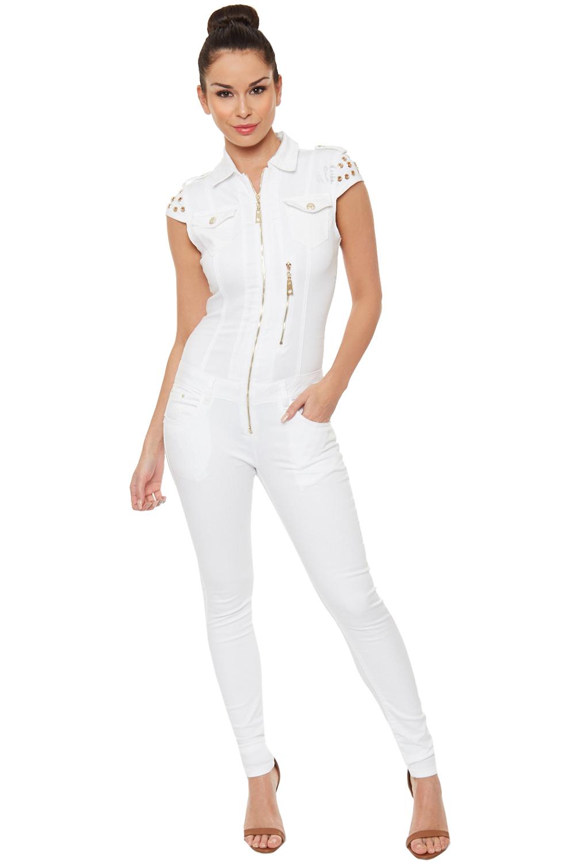 Womens Denim Jumpsuit Sleeveless Zip Pocket Collar Full Length Stretch | EBay