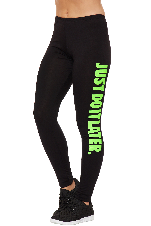 womens neon print leggings just do it later full length stretch bottoms pants ebay. Black Bedroom Furniture Sets. Home Design Ideas
