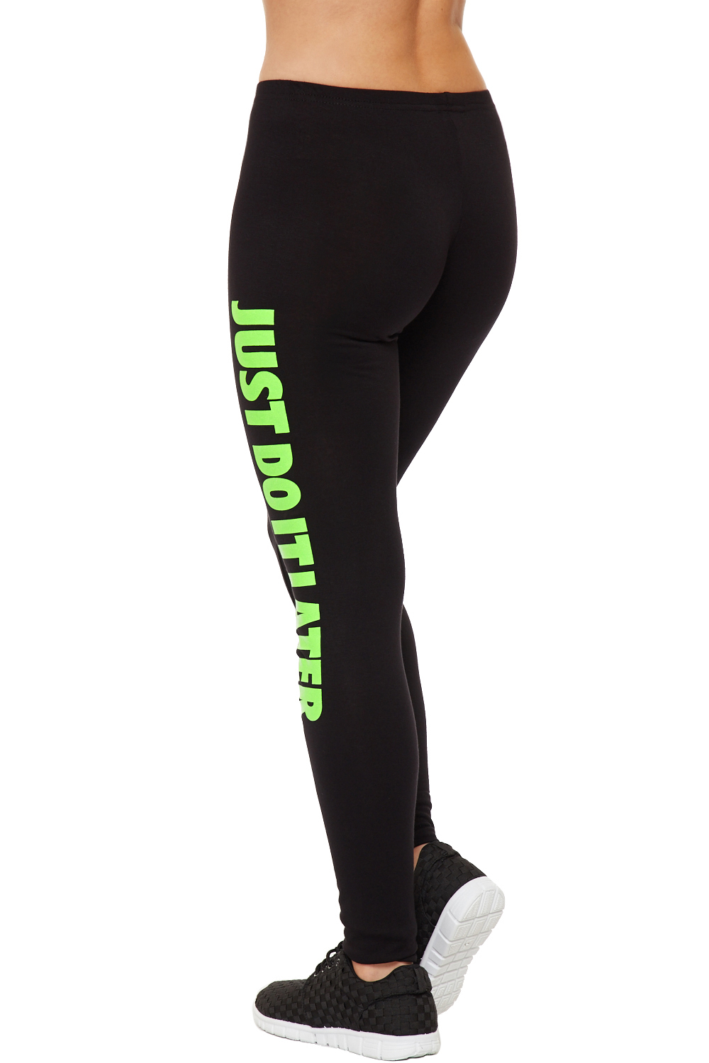 Womens Neon Print Leggings Just Do It Later Full Length Stretch ...