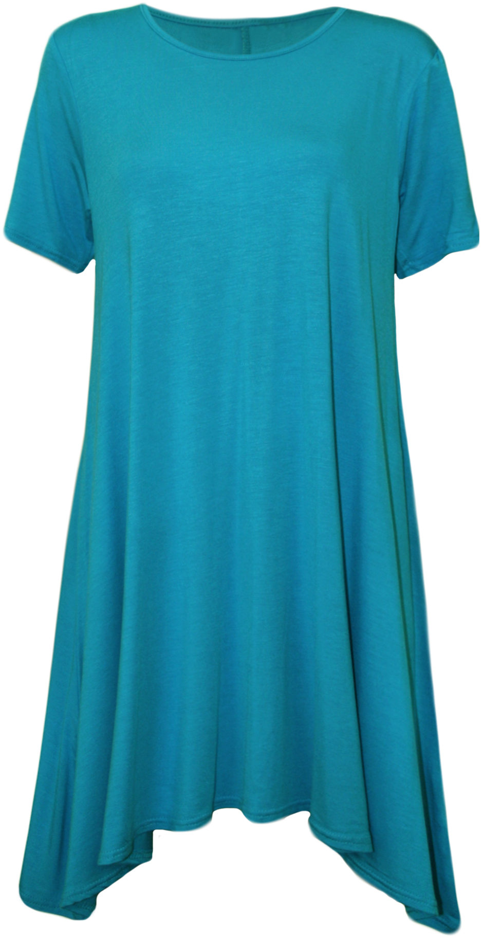 New womens plus size ladies short sleeve swing stretch for Women s turquoise long sleeve shirt