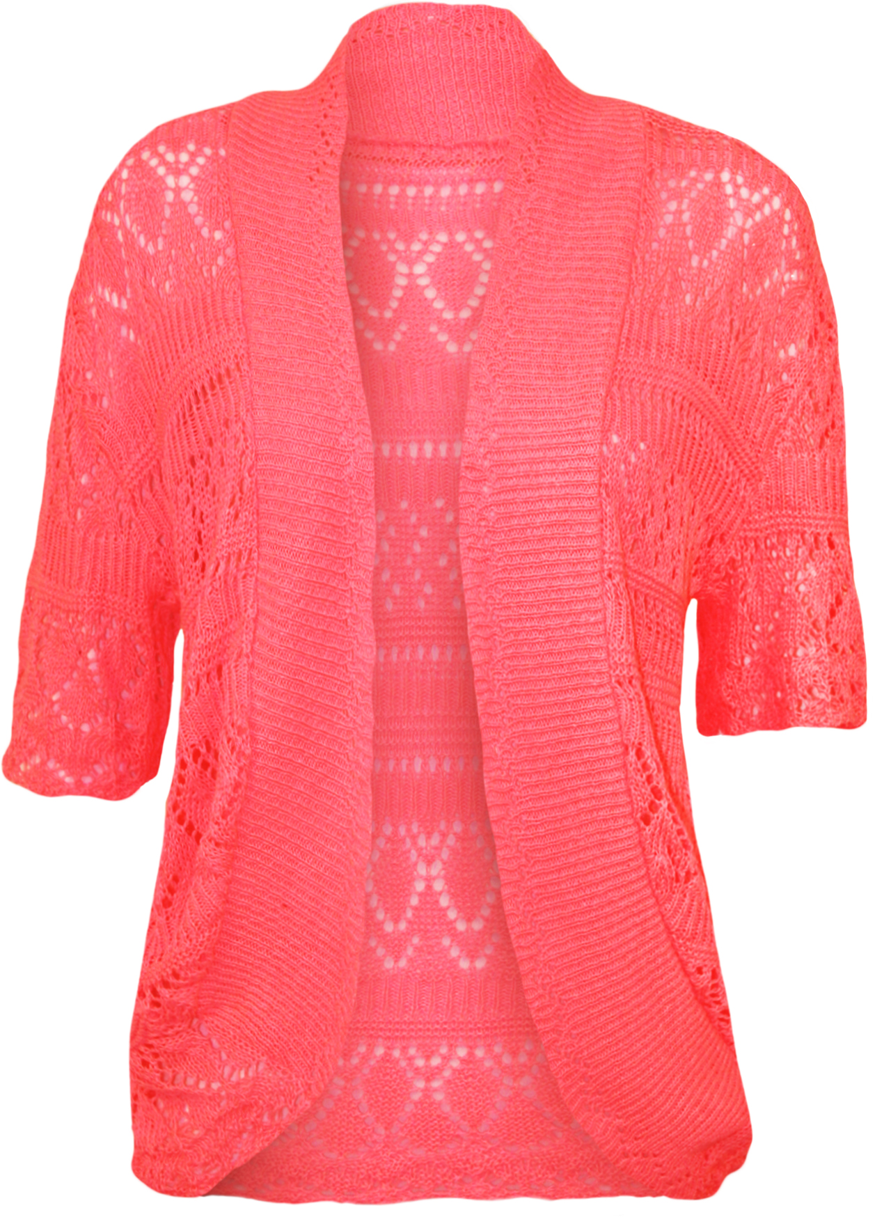 New Womens Plus Size Crochet Knitted Short Sleeve Ladies ...