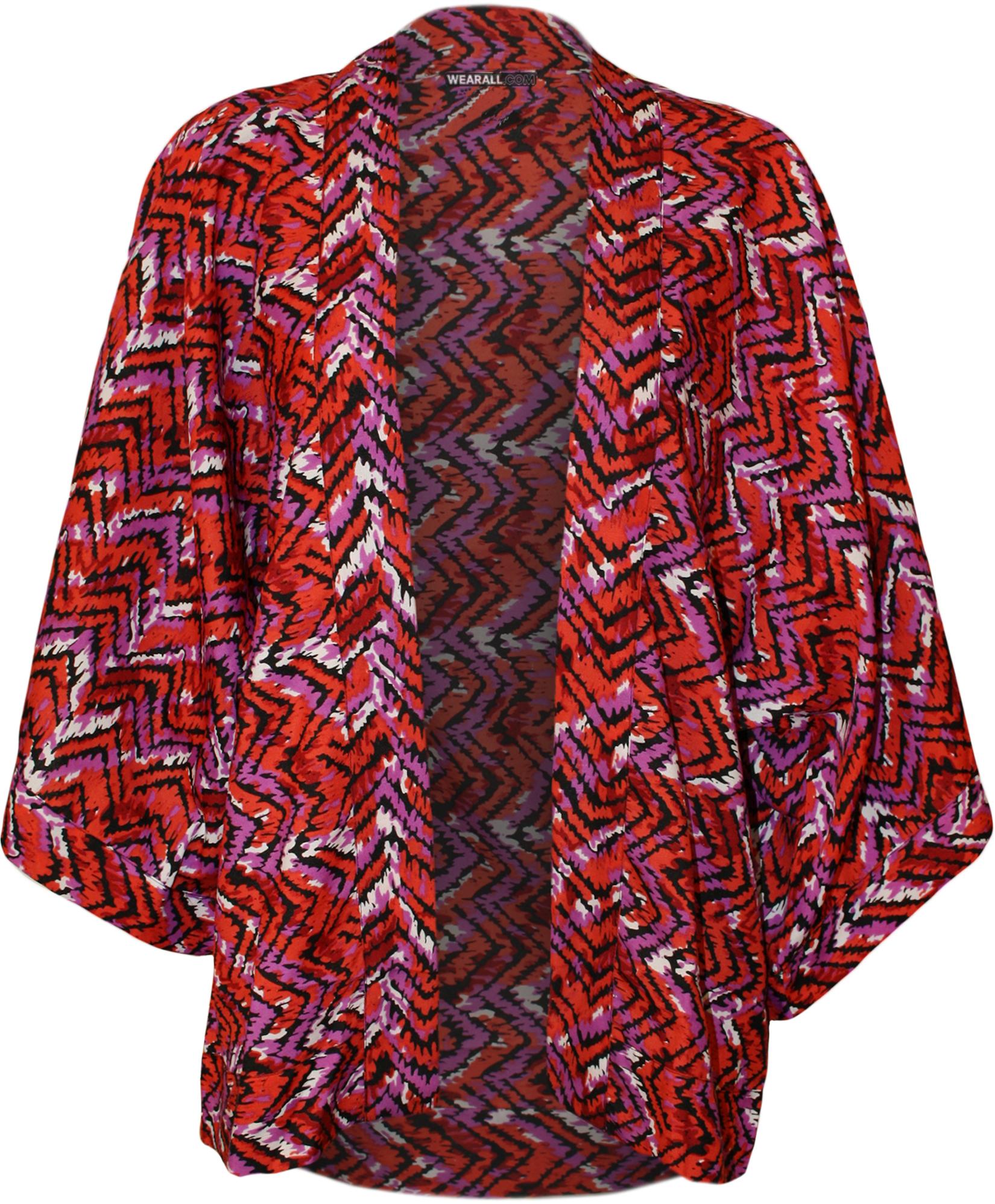 Damen strickjacke blumenmuster 3 4 rmel kimono offen - Kimono jacke damen ...