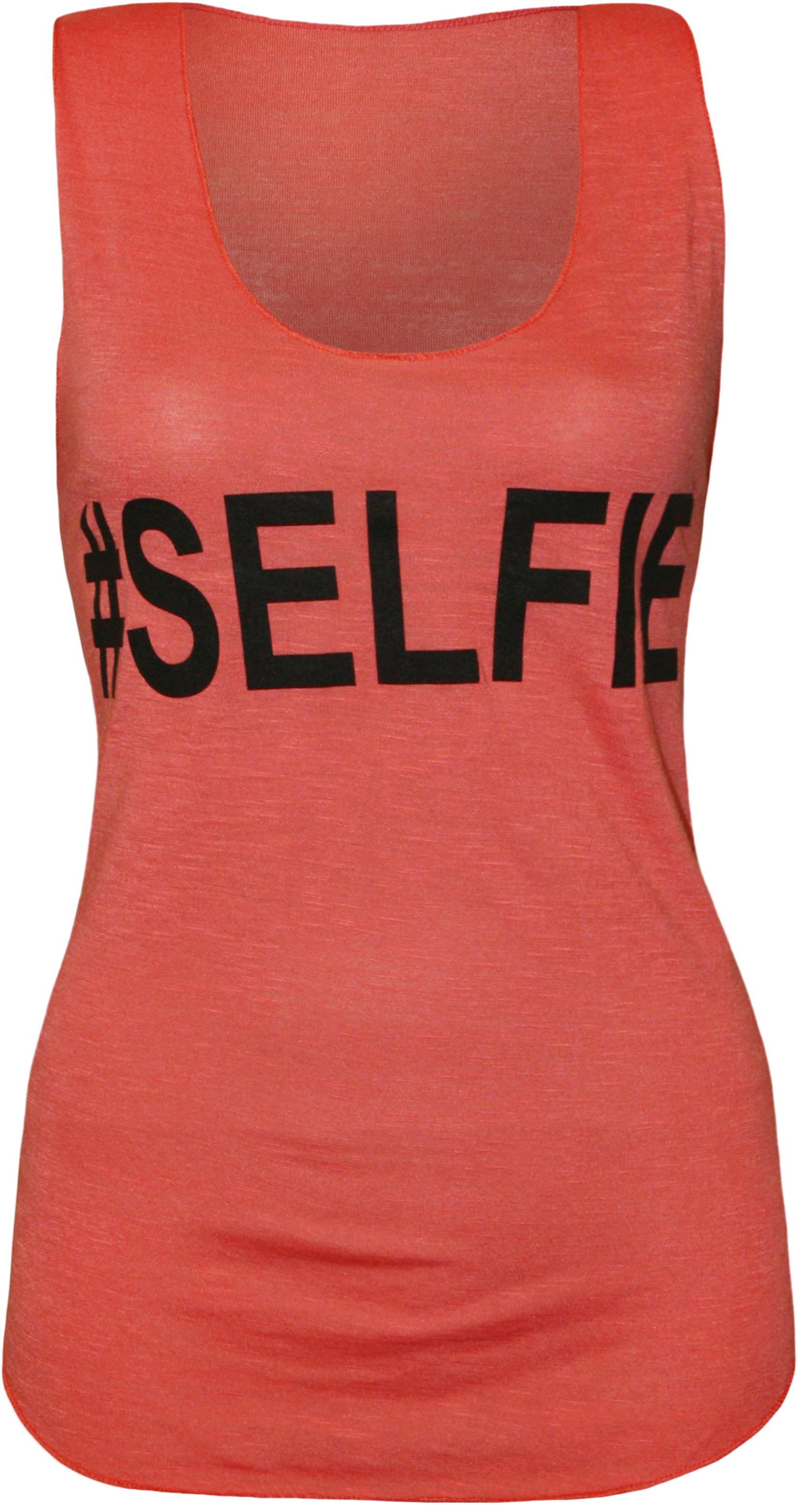 ... -Selfie-Text-Slogan-Print-Ladies-Sleeveless-Vest-T-Shirt-Top-8-14