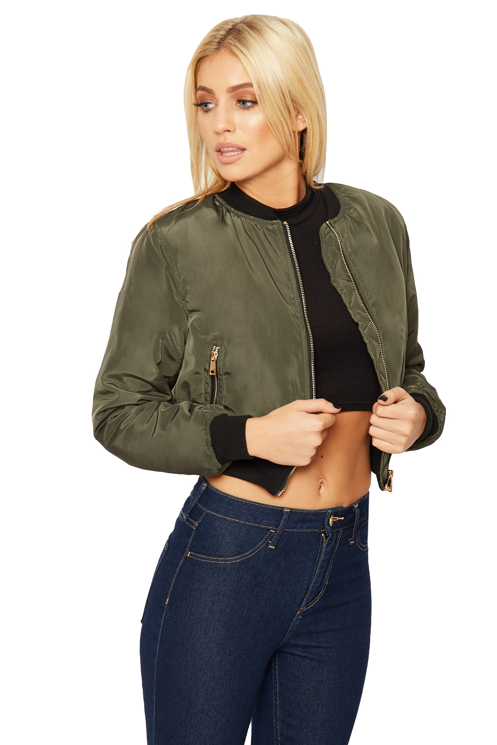 Womens Wet Look Cropped Jackets Coat Ladies Padded Bomber Bubble Puffer Short UK. from $ 25 5 out of 5 stars 4. Gfones. Women's Casual Open Front Work Office Jacket Ruffles 3/4 Sleeves Blazer. from $ 15 99 Prime. out of 5 stars SLINK Jeans. Women's Plus Size Cropped Denim Jacket $ 68 00 Prime.