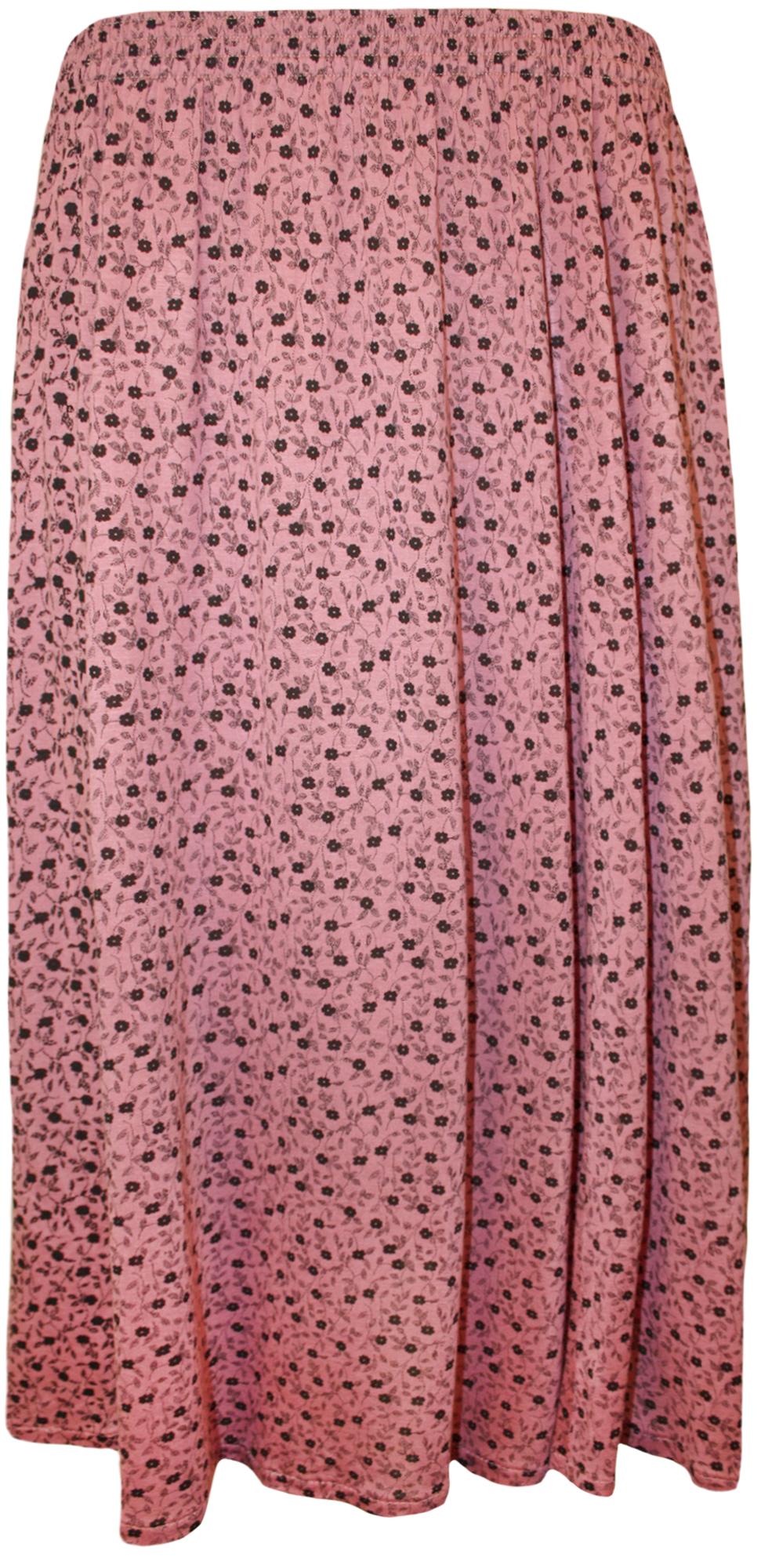 New-Plus-Size-Womens-Printed-Pattern-Elasticated-Waist-Ladies-Flared-Skirt-12-26