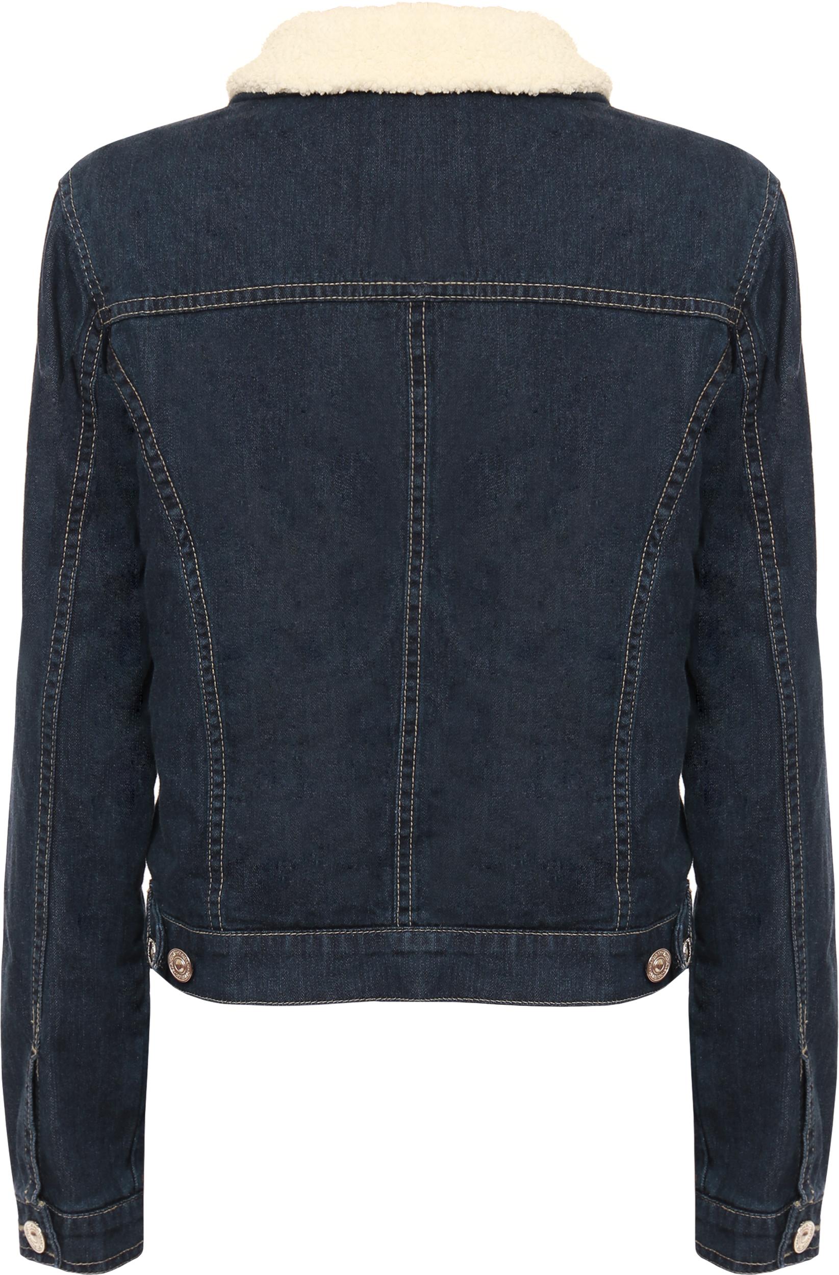 Womens Denim Fur Collar Crop Jacket Ladies Long Sleeve Zip ...