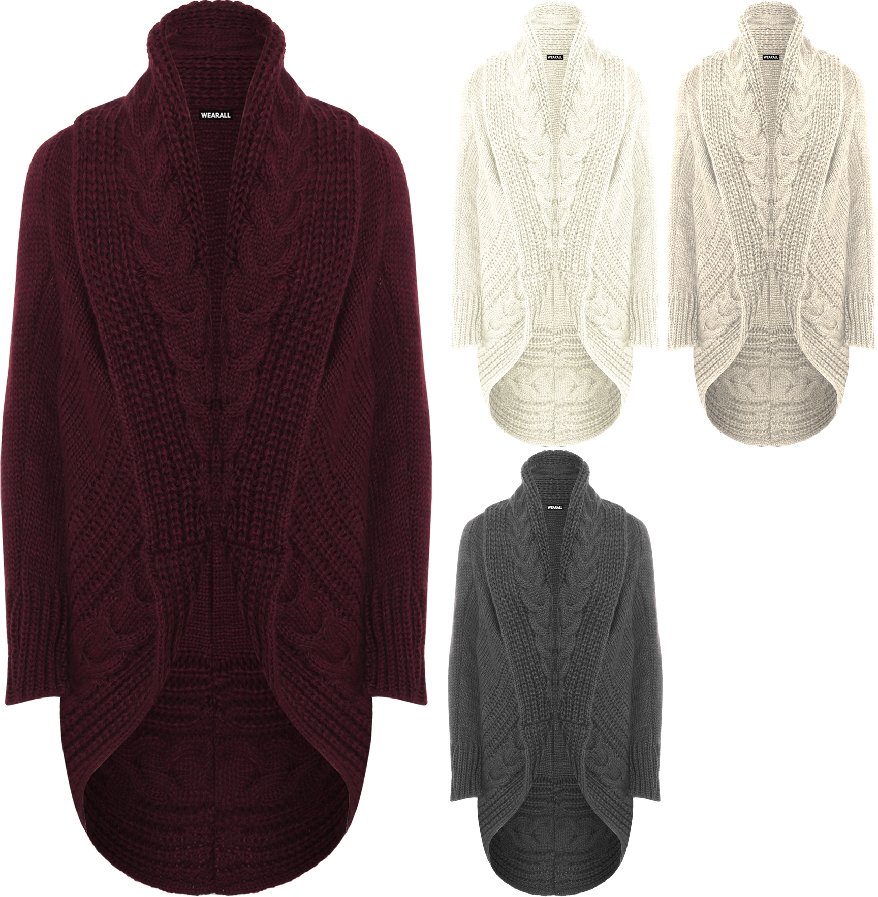 Knitting Pattern Chunky Cable Cardigan : Womens Cable Knitted Cardigan Top Ladies Long Sleeve Open Aran Chunky Plain ...