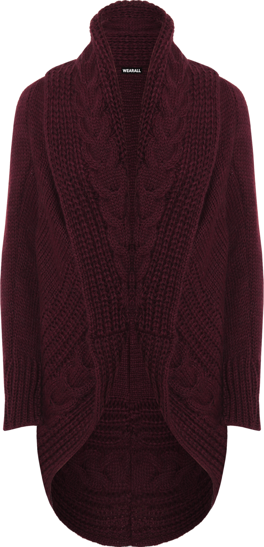 Womens Cable Knitted Cardigan Top Ladies Long Sleeve Open Aran Chunky Plain ...