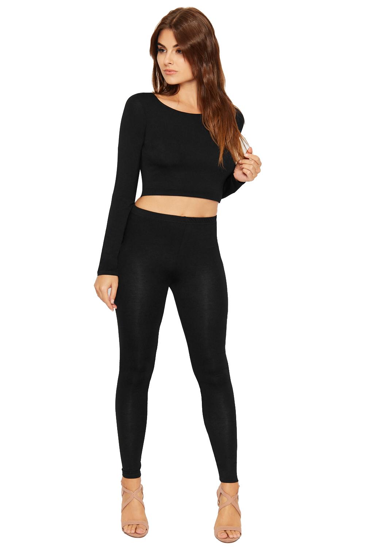 Womens Crop Top Leggings Co-ord Plain Basics Stretch Long Sleeve Ladies Pants | eBay