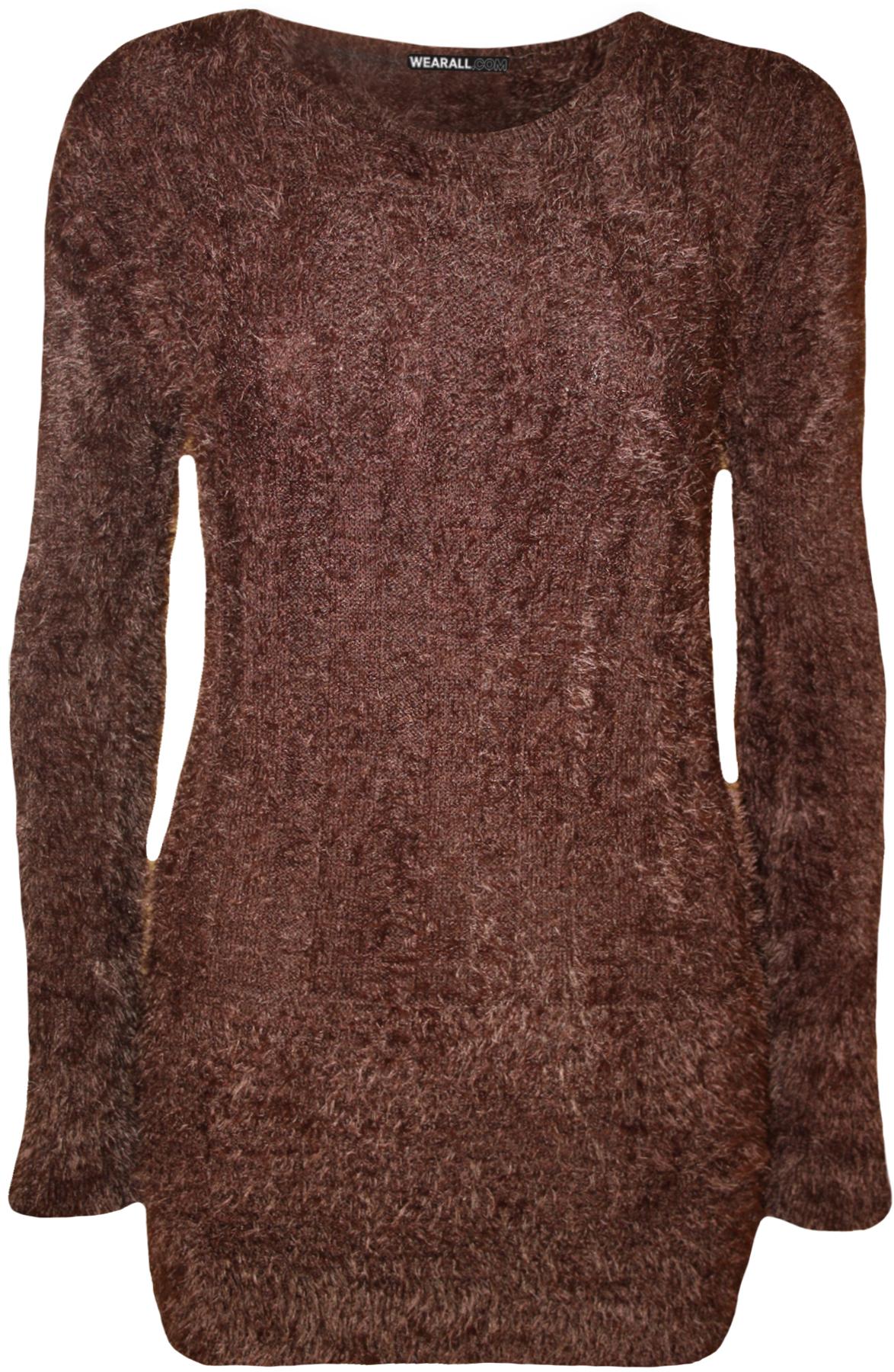 Knitting Pattern Plain Jumper : New Womens Plain Fluffy Long Sleeve Top Sweater Ladies Soft Knitted Jumper 8-...
