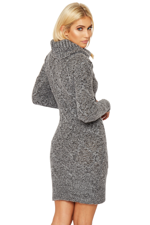 Knitting Pattern Ladies Cowl Neck Jumper : Womens Knitted Jumper Dress Ladies Cowl Roll Neck Long Sleeve Knee Length eBay