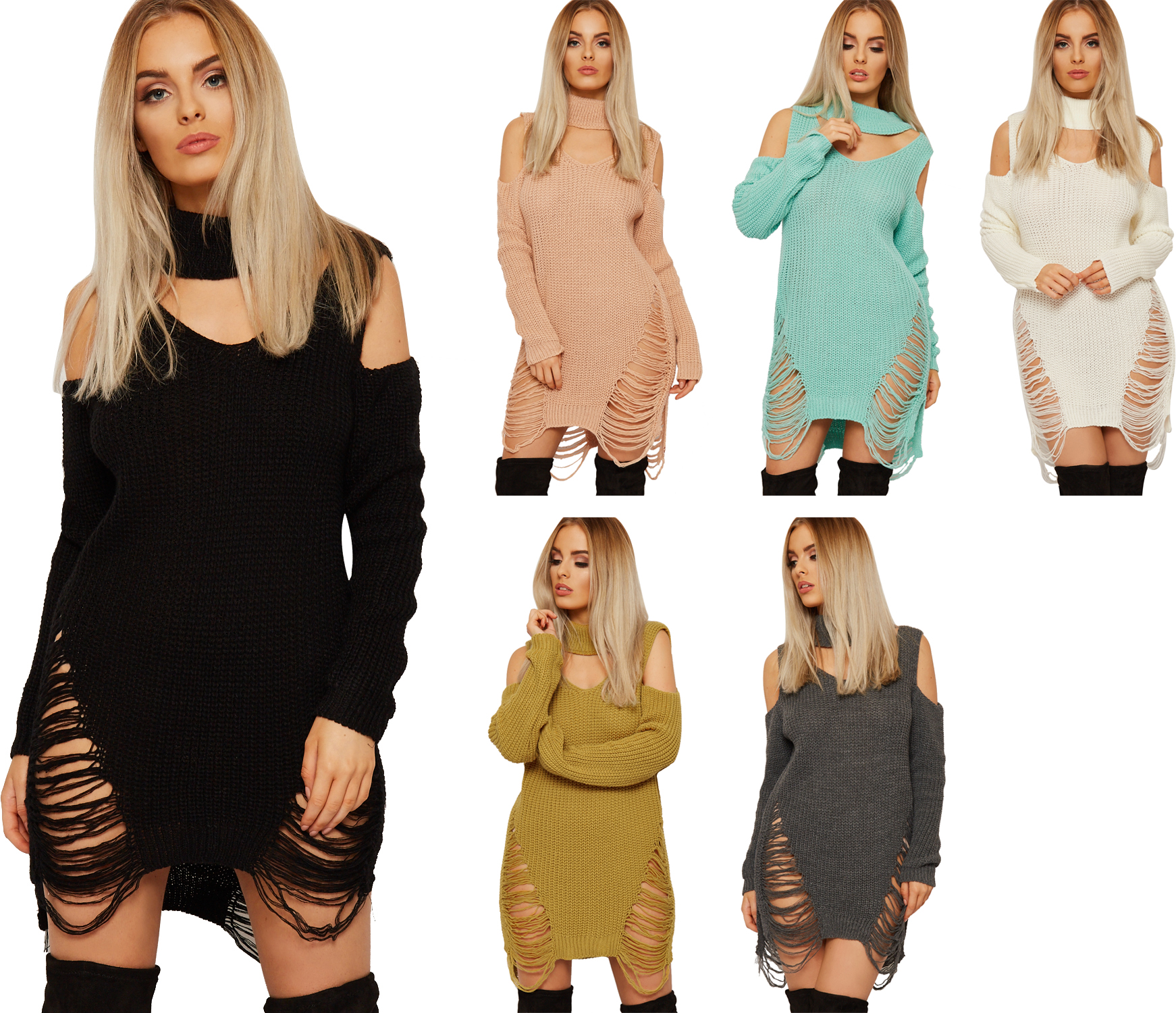 Womens Cable Knitted Top Choker Jumper Dress Ladies Distressed Cold Shoulder ...