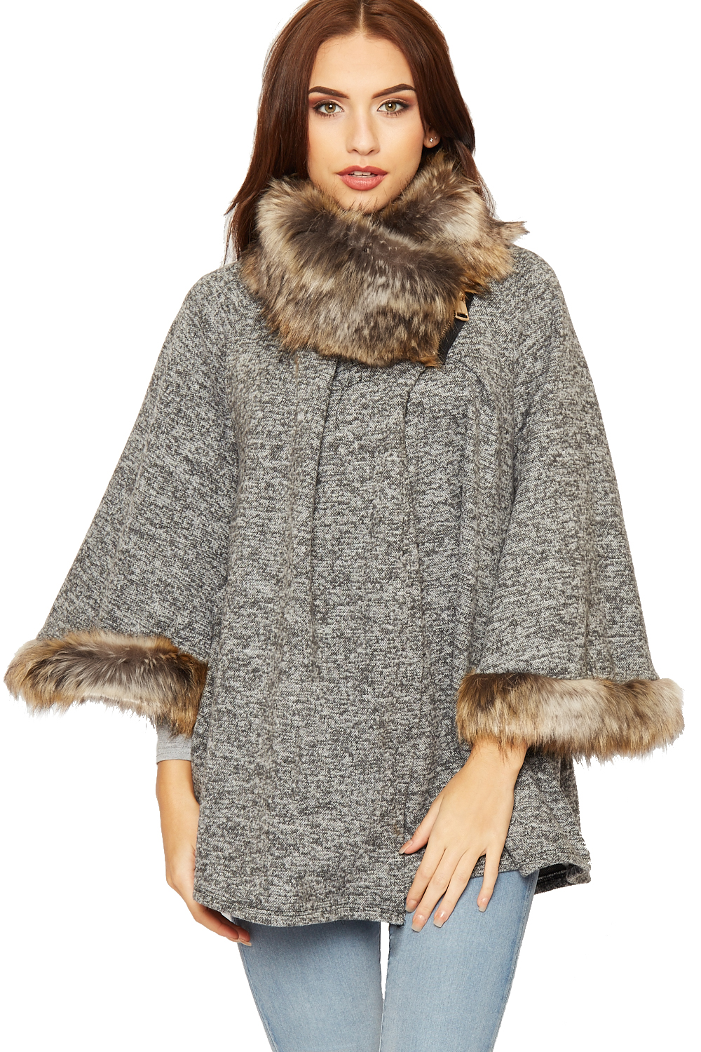 Poncho Jacket Knitting Pattern : Womens Faux Fur Hooded Cape Ladies Knitted Poncho Cloak Jacket Cardigan 14-26...