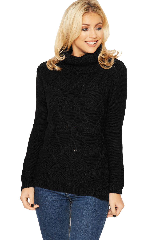 Knitting Pattern Ladies Cowl Neck Jumper : Womens Polo Cable Knit Jumper Top Ladies Cowl Neck Long Sleeve Plain New 8-14...