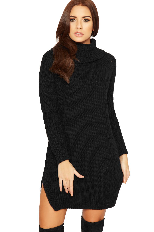 Knitting Pattern Ladies Cowl Neck Jumper : Womens Polo Cowl Neck Jumper Dress Ladies Cable Knitted Long Sleeve Plain Top