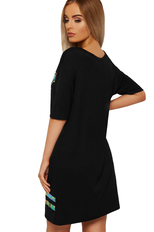 Black t shirt dress knee length - Womens Foil Print T Shirt Dress Top Ladies Baseball Short Sleeve Knee Length New