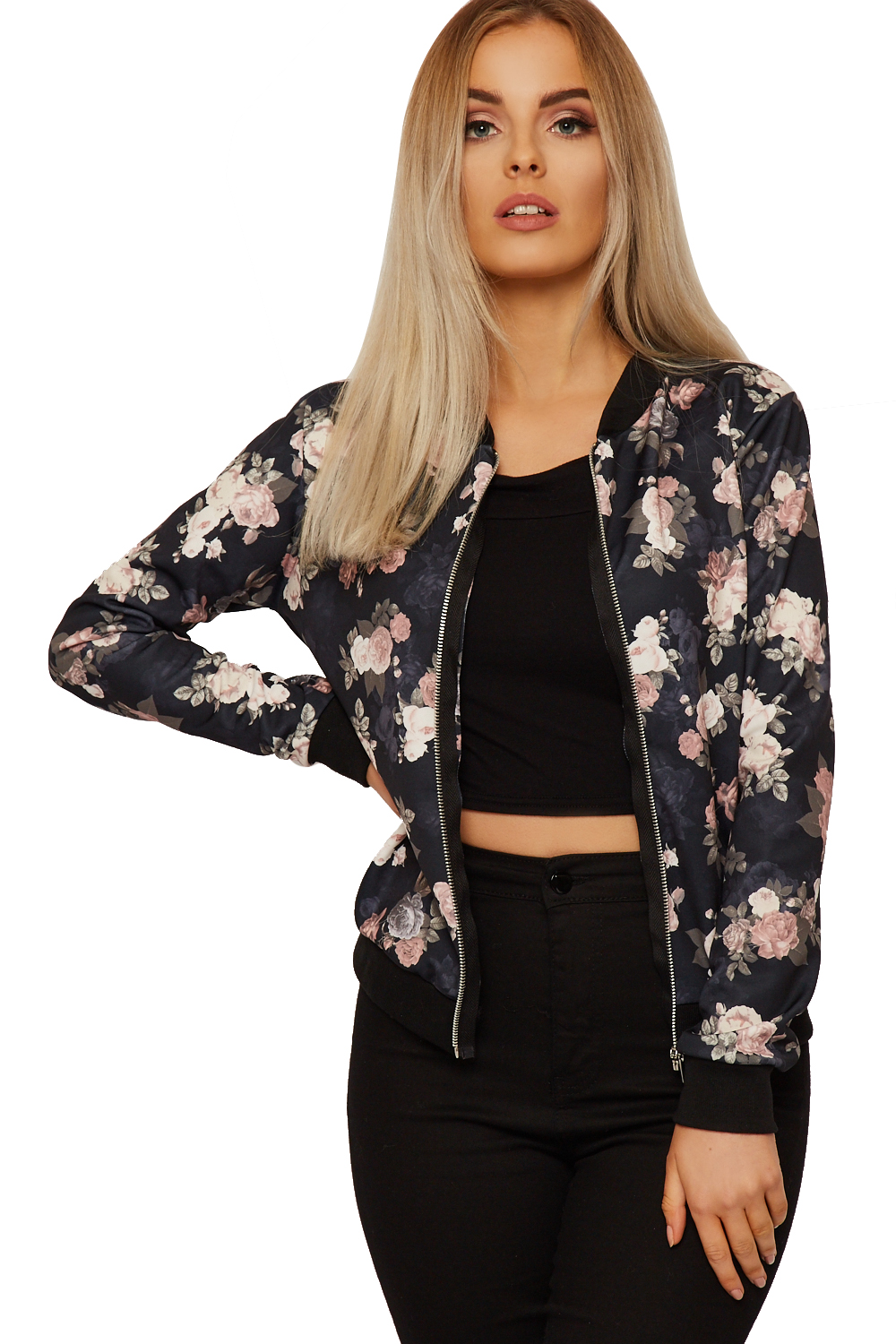 Womens Floral Bomber Jacket Ladies Long Sleeve Rose Print Zip Crew Neck New  8-14 - Womens Floral Bomber Jacket Ladies Long Sleeve Rose Print Zip Crew