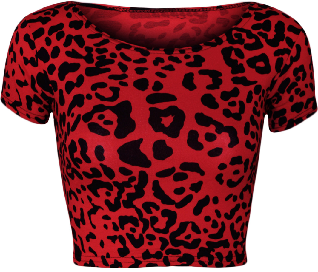 neu damen rote leopard tier druck kurz m tze h lle weste ernte top ebay. Black Bedroom Furniture Sets. Home Design Ideas