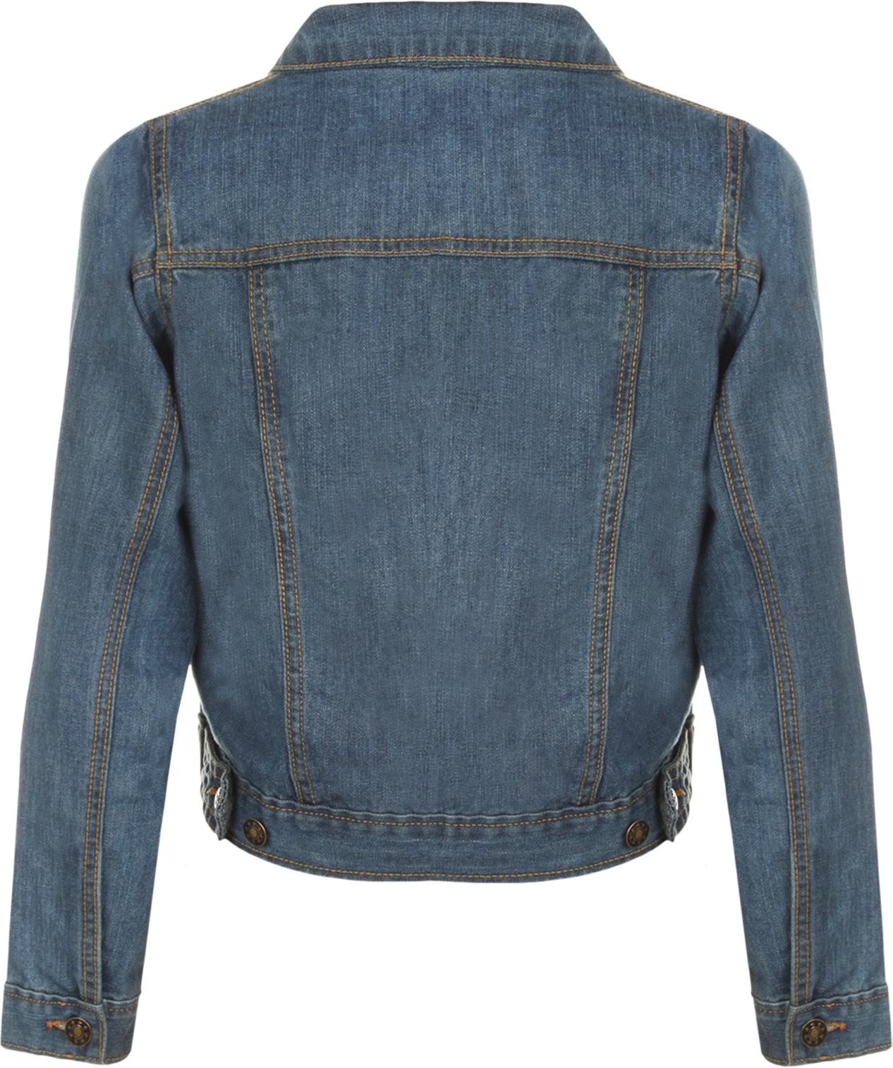 New Womens Crop Short Long Sleeve Denim Pocket Button Top ...