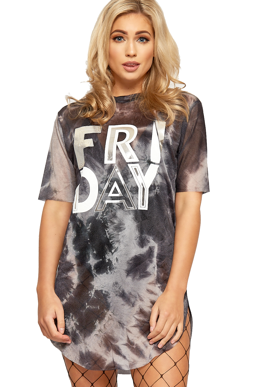 Womens raw edge t shirt mini dress top ladies mesh friday for Raw edge t shirt women s