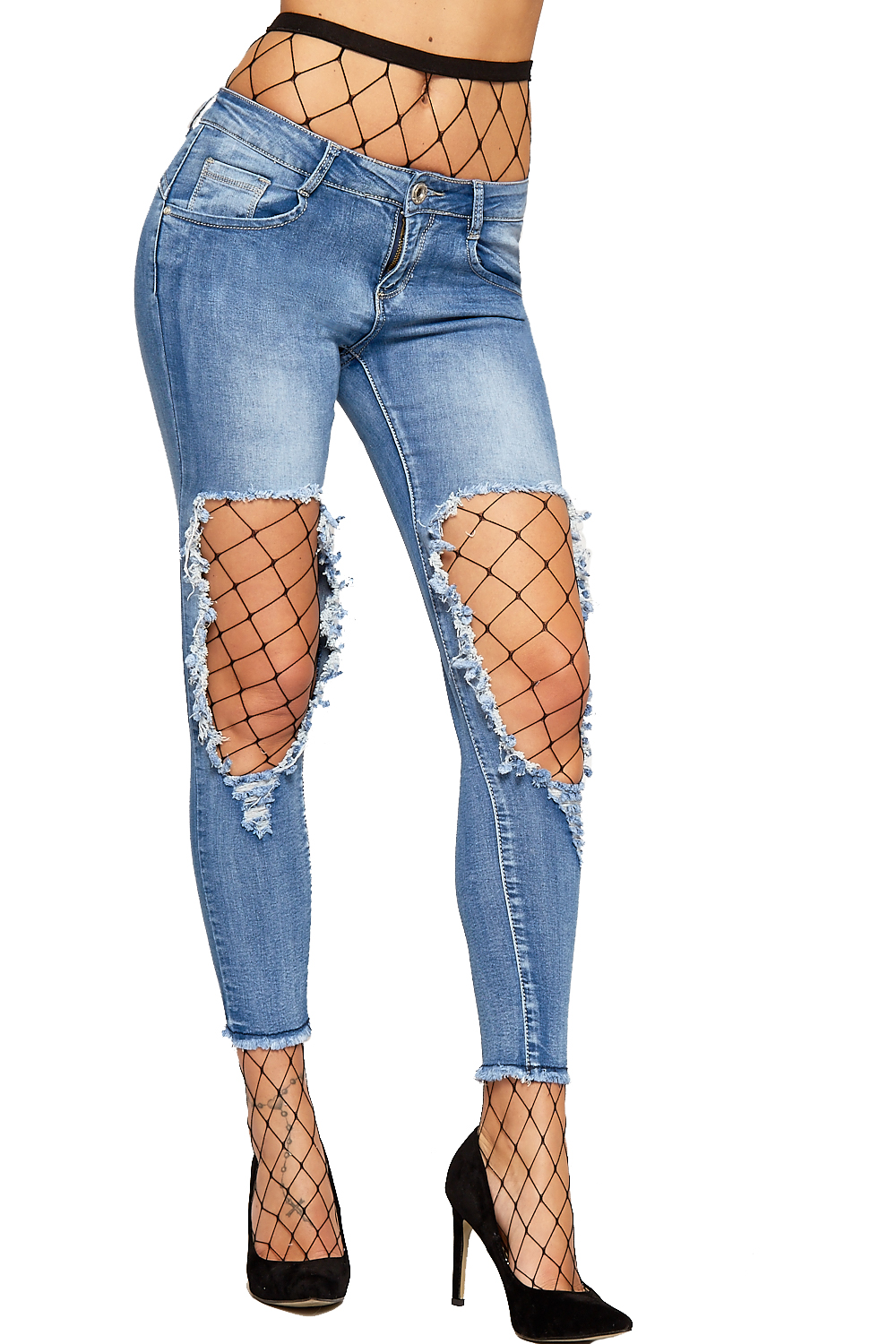 Womens Distressed Stonewash Hole Knee Denim Jeans Ladies Ripped Trousers Pants | eBay