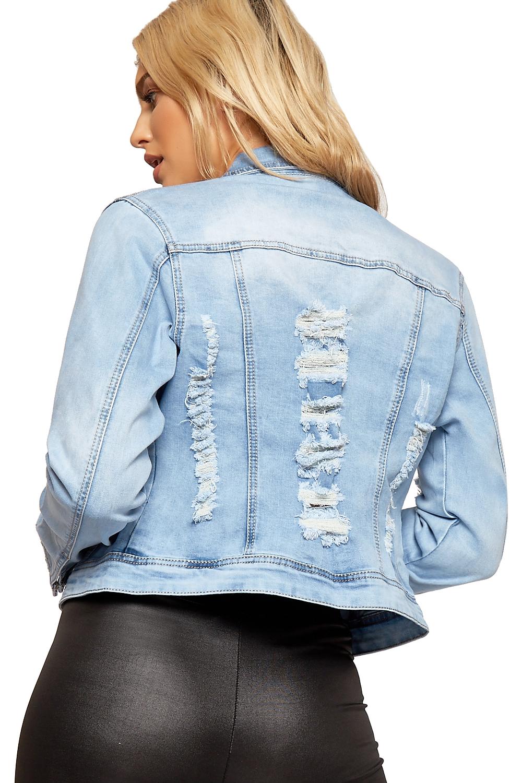 Womens Distressed Denim Jacket Ladies Ripped Light Wash