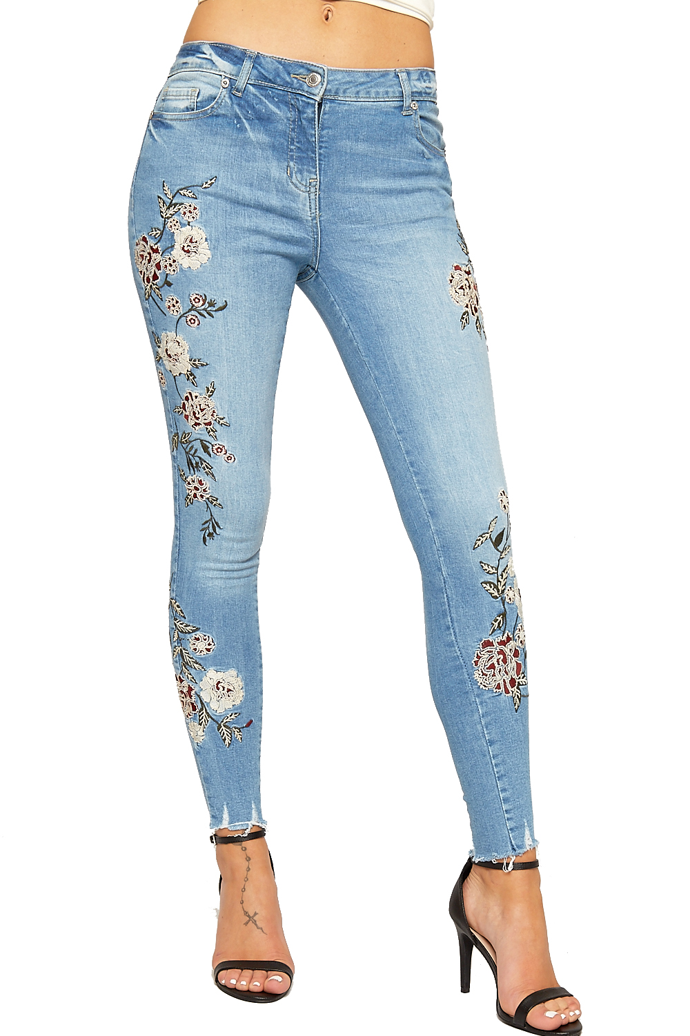 Womens Denim Skinny Leg Ankle Jeans Ladies Floral Embroidered Frayed Button New
