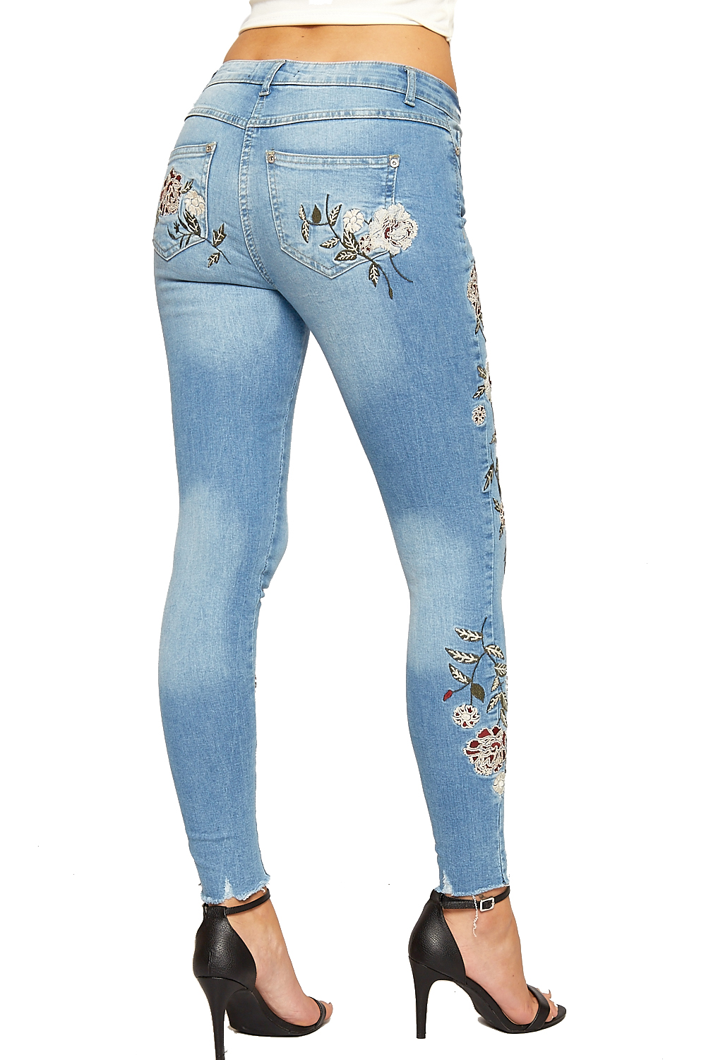 Womens denim skinny leg ankle jeans ladies floral