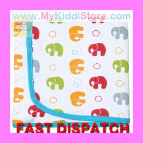J-J-COLE-RECEIVING-Baby-BLANKET-100-Cotton-Bright-Giraffes-Bright-Elephants