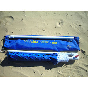 Foldabrella Folding UV 50+ Travel Beach Umbrella FREE Carry Bag - Fits Suitcase