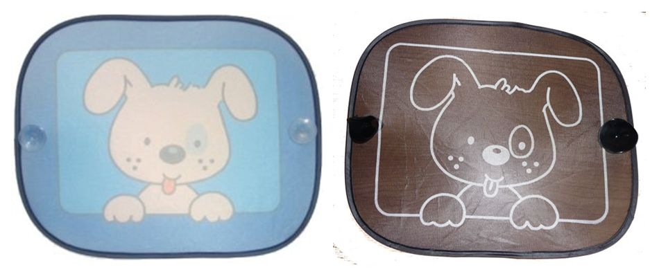 CLIPPASAFE-CAR-FUN-Puppy-SUN-SCREEN-Choose-BLUE-or-BLACK-Shade-Blind-x2-Pack