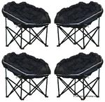 4 x Quest Elite Deluxe Medium Navy Moon Chair for Camping Caravans & Motorhomes