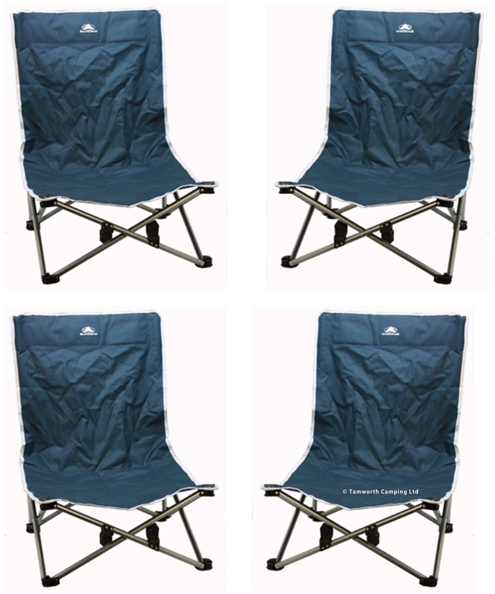 Sunncamp Low Folding Steel Beach Chair for Camping Festavals and Outdoors