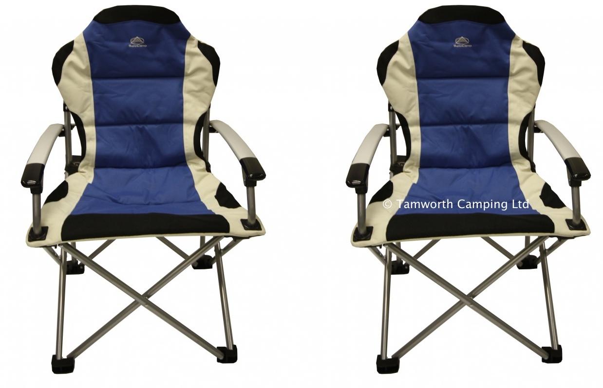 2 x Sunncamp Deluxe Super Folding Heavy Duty Camping Chair Max Load 100kg Blu