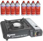 Kampa Uni Portable Camping Gas Cooker + 8 Gas Cartridge
