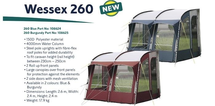 Royal Wessex 260 Caravan Porch Awning Blue | eBay