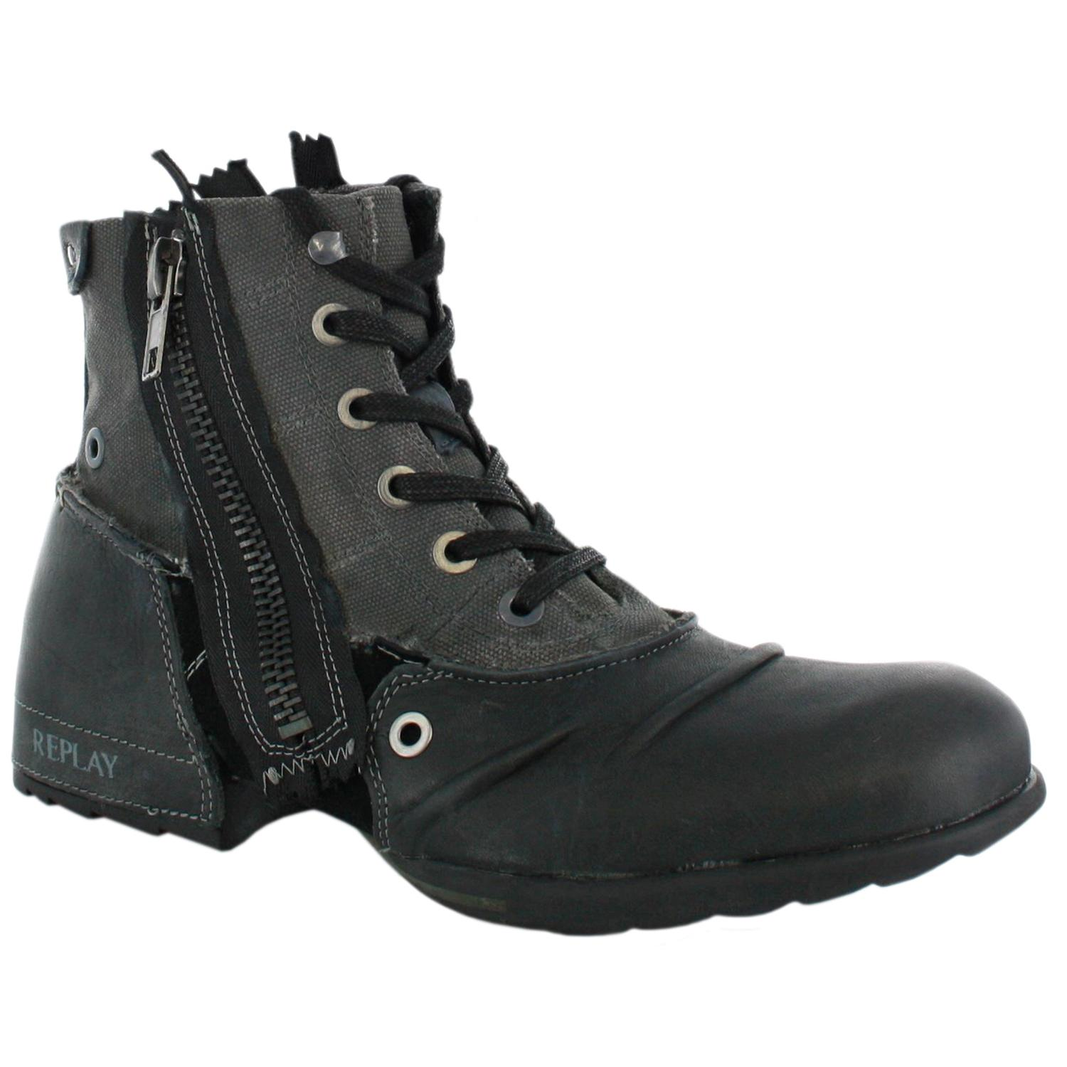 replay clutch black mens leather zip boots shoes ebay