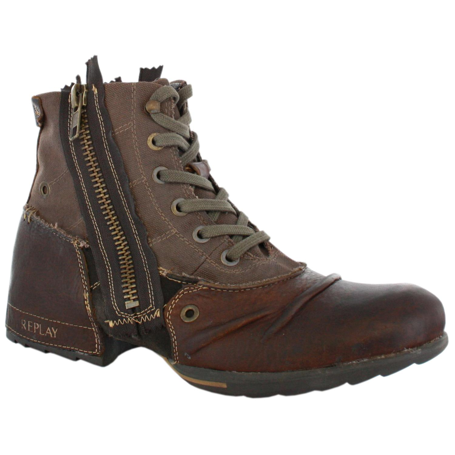 replay clutch brown mens leather zip boots shoes ebay