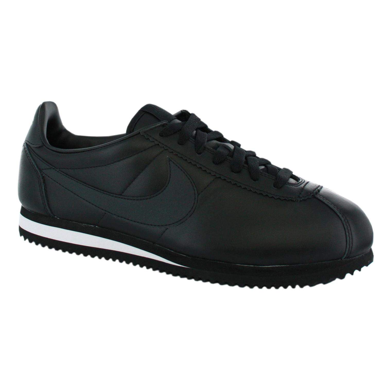 nike cortez leather mens new trainer shoes black ebay