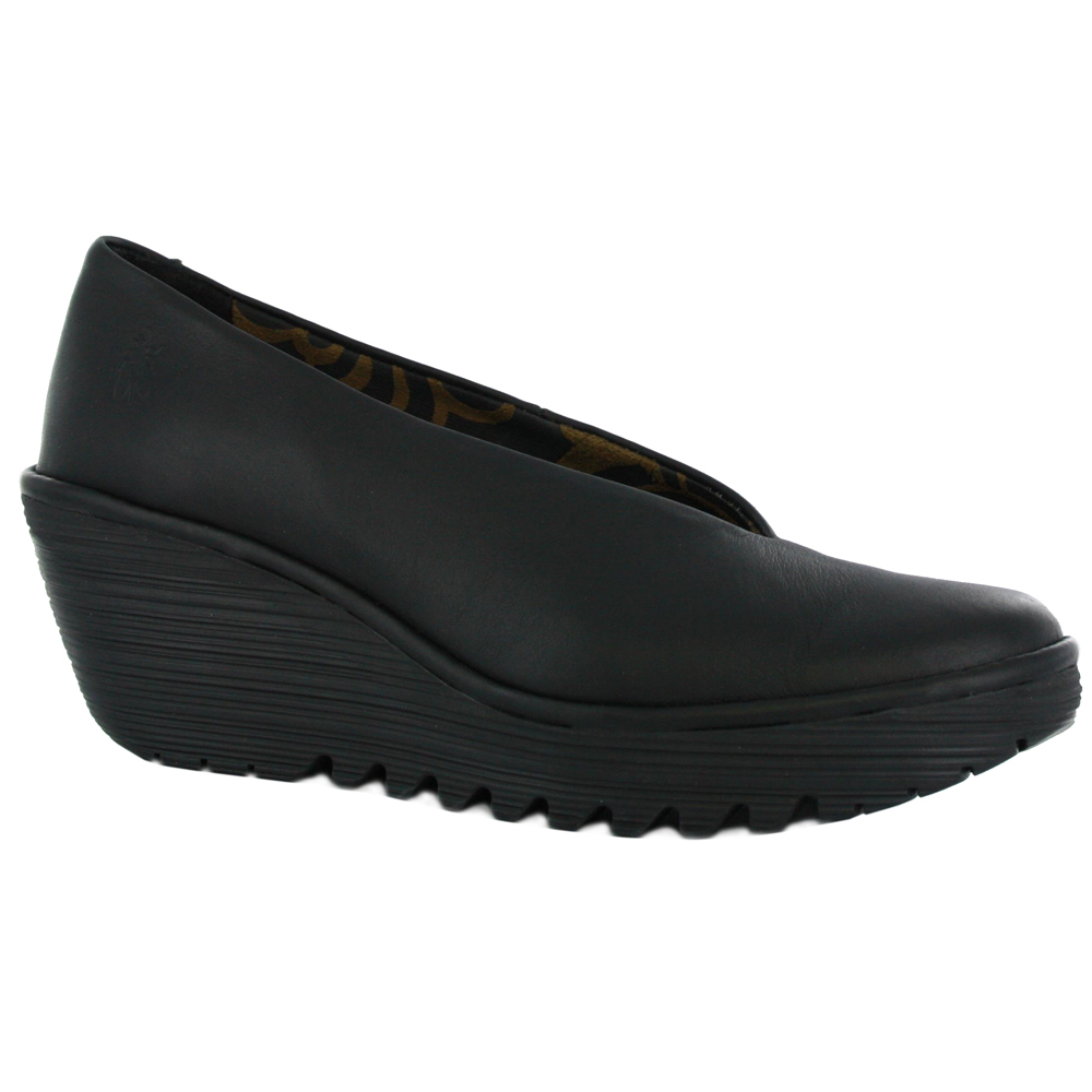 fly yaz black leather womens wedge shoes ebay