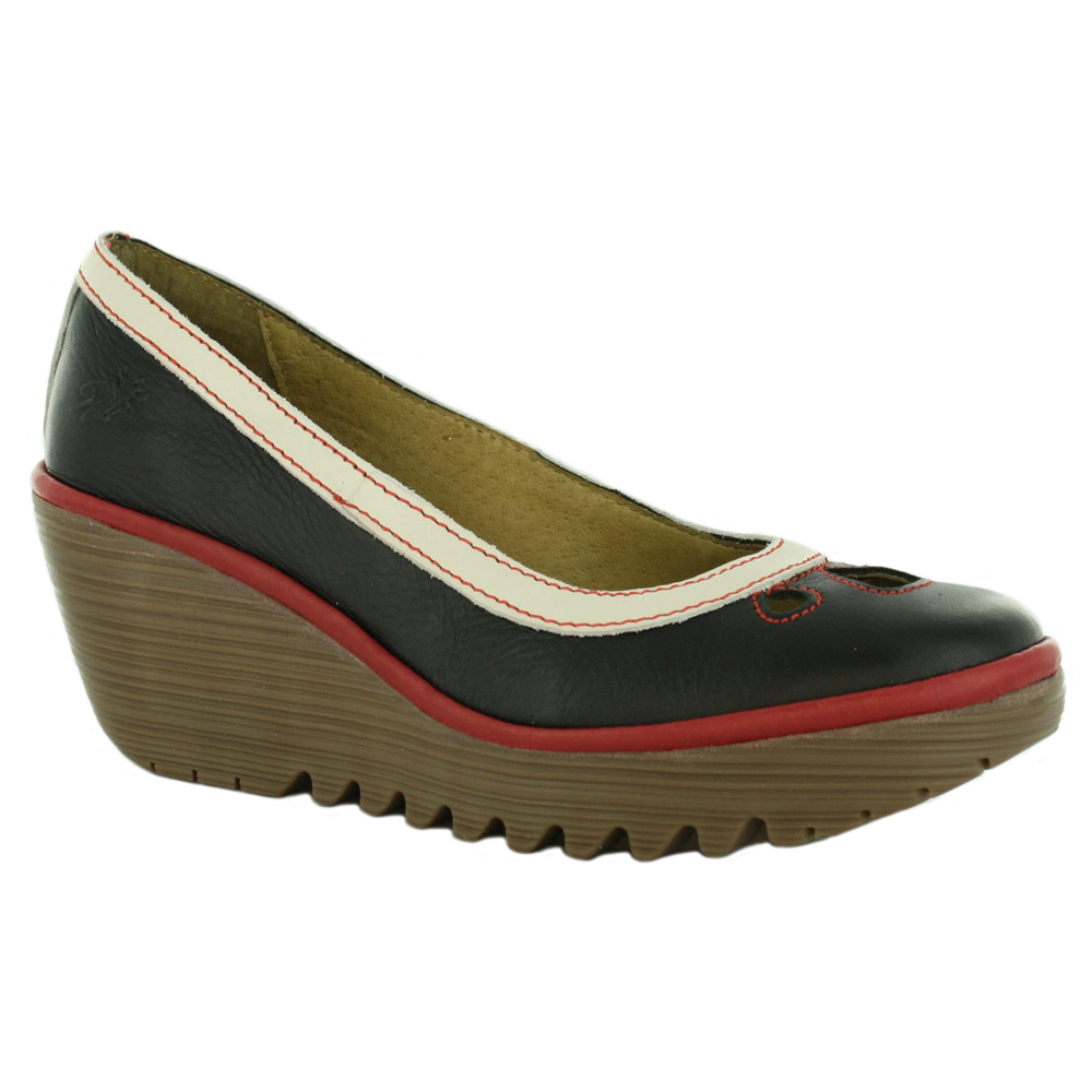 fly london yedi wedge leather shoes black white red ebay. Black Bedroom Furniture Sets. Home Design Ideas