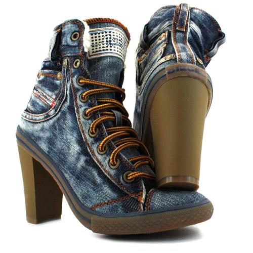 Diesel Exposition Womens Hi Heel Denim Shoes Indigo | eBay