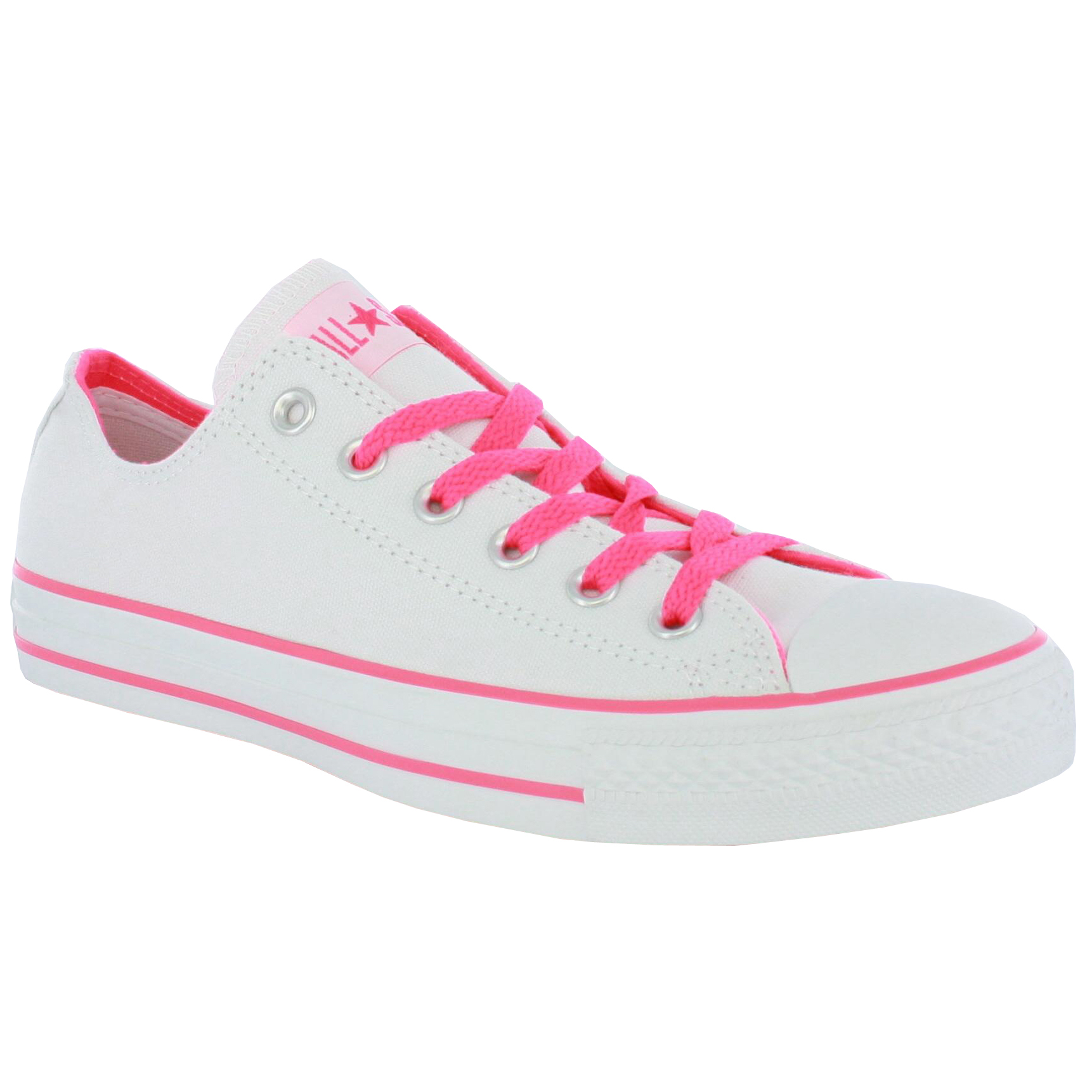 converse all ox white neon pink womens trainers ebay