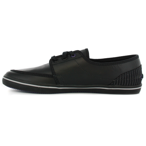 lacoste haynt ps black leather mens deck shoes trainers ebay