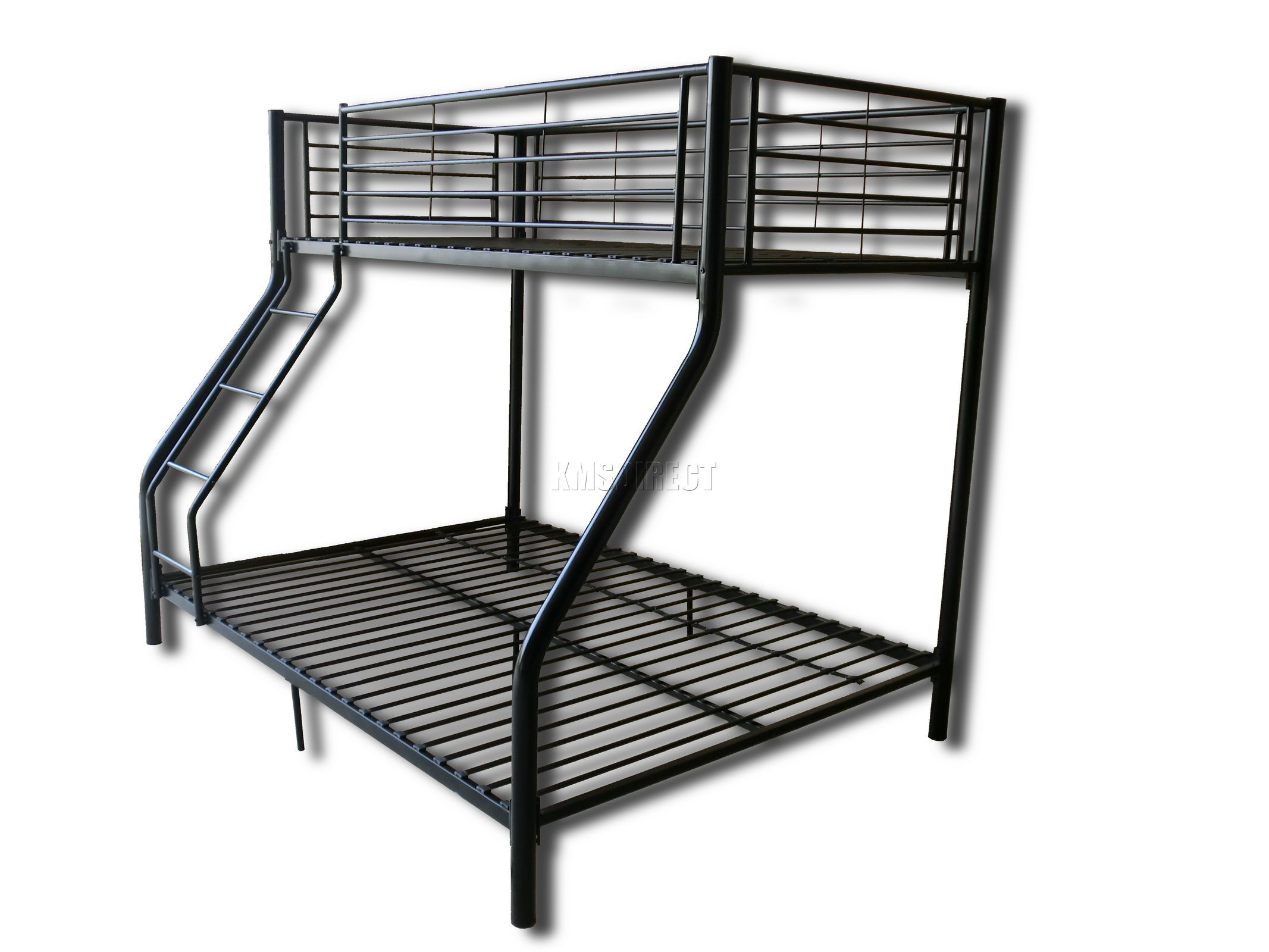 new black metal triple children sleeper bunk bed frame no mattress ebay. Black Bedroom Furniture Sets. Home Design Ideas