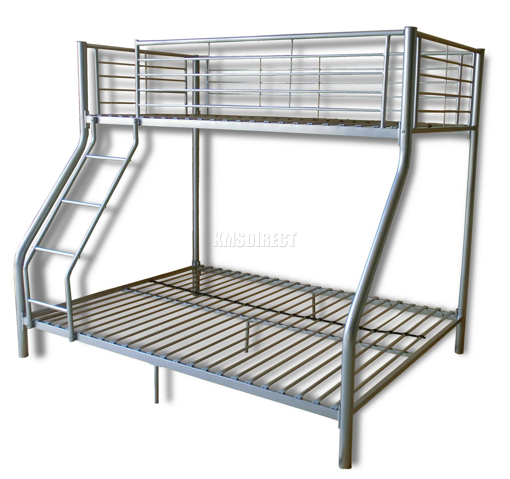 New silver metal triple children sleeper bunk bed frame no for Bunk bed frame with mattress