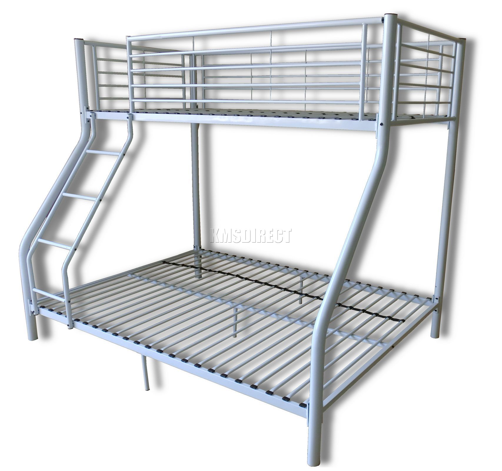 foxhunter new white metal triple children sleeper bunk bed frame no mattress ebay. Black Bedroom Furniture Sets. Home Design Ideas