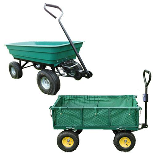 Garden heavy duty utility 4 wheel trolley cart dump for Garden tools for 4 wheeler
